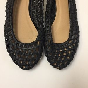 Urban outfitter ecote black leather woven flats
